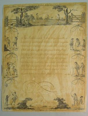 """Etching, """"School Boys Recreation"""" by John Roberts, published by R. Sayer 1788"""