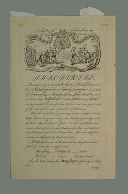 """Print, """"Shropshire - The Arms of Shrewsbury"""""""