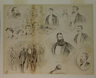 "Drawing, ""Centenary of the Marylebone Club, 25 June 1907 - Amongst the Guests"""