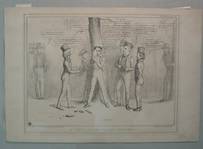 """A Row in the Play-Ground"" - HB Sketches No. 563 - artist John 'HB' Doyle 1838"