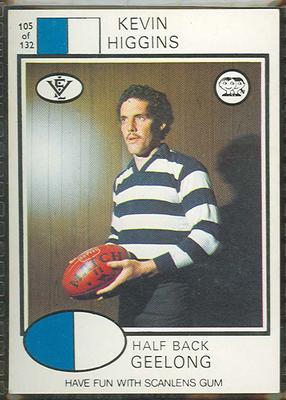 1975 Scanlens VFL Football Kevin Higgins trade card