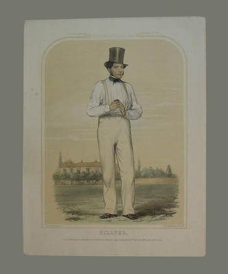 """English cricketer - """"Hillyer - Sketches at Lords No. 3/[8?]"""""""