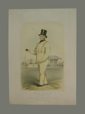 """English cricketer: """"William Lillywhite ..as he appeared at Lord's Ground July 1853"""""""