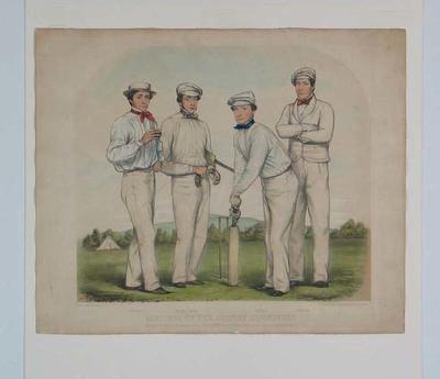 """Sketches of the Surrey Cricketers"" - Sherman, Julius Caesar, Caffyn, Lockyer."