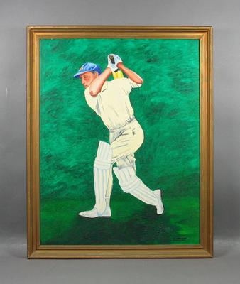 Oil painting, cricketer batting; Artwork; Framed; M5942