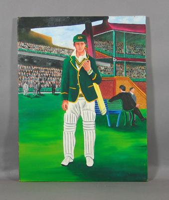 Oil painting, Australian cricketer