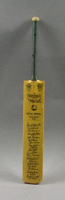 Miniature bat, facsimile signatures of 1963 West Indies Cricket Team
