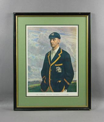 """Print, """"The World's Greatest Batsman: J B Hobbs""""; Artwork; Framed; M5958"""