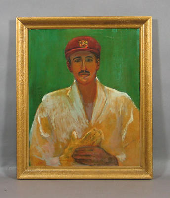 Framed oil painting of West Indian cricketer Frank Worrell; artist P.H. Opas