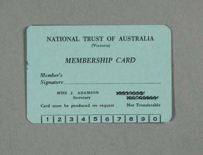 Membership card for National Trust of Australia, 1962