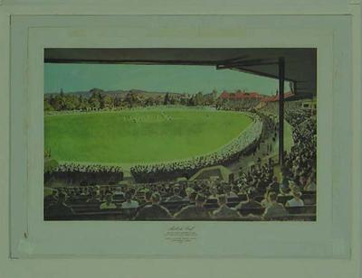 Reproduction print of painting 'Adelaide Oval' by John Goodchild, 1952; Artwork; M5989