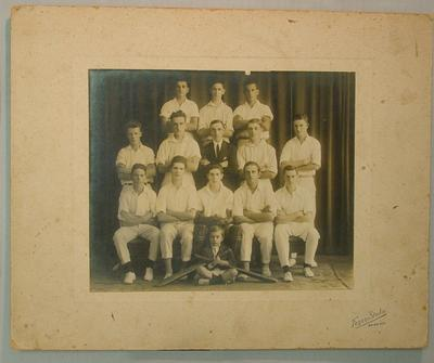 Mounted photograph of youth cricket team, date unknown