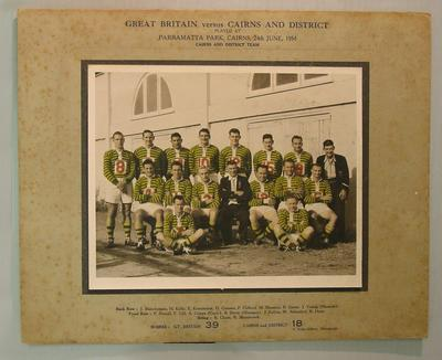 Mounted team photograph of Cairns and District rugby league team, Great Britain v Cairns and District, 1954