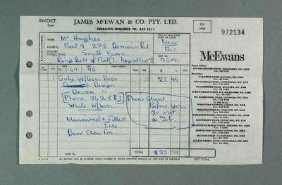 Receipt for door from James McEwan & Co, 1969