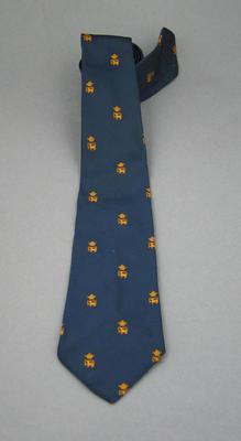 Tie - Navy blue with gold grown and lion motif - club unknown