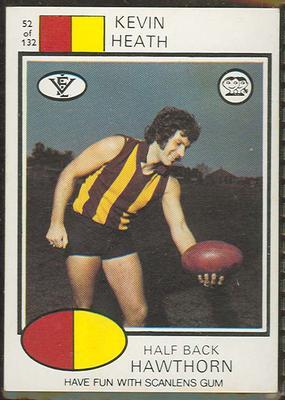 1975 Scanlens VFL Football Kevin Heath trade card