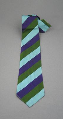 Tie - silk, blue, purple and green diagonal stripes - club unknown