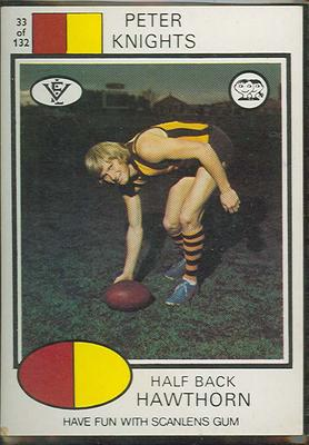 1975 Scanlens VFL Football Peter Knights trade card