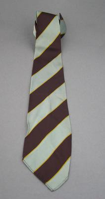 Grey, maroon and narrow yellow striped tie - club unknown