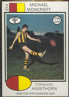 1975 Scanlens VFL Football Michael Moncrieff trade card