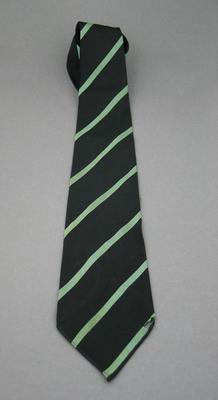 Black silk tie with pale green diagonal stripes - club unknown