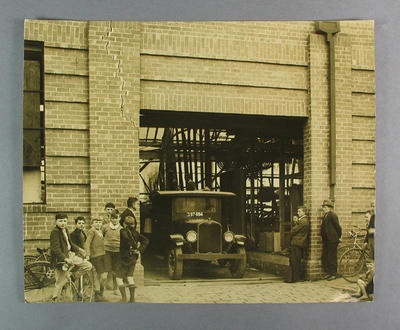 Photograph of truck entrance to Hartley Cycle Factory, c1930s