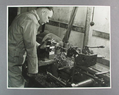 Photograph of turret lathe in use at Hartley Bicycle Factory, c1930s