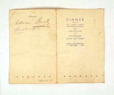 Menu, 1946 Davis Cup Dinner
