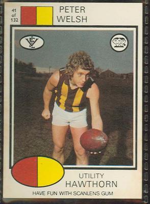 1975 Scanlens VFL Football Peter Welsh trade card