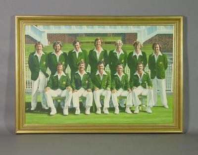 Painting, depicts Australian cricket team - 1977 Centenary Test