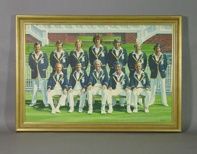Painting, depicts English cricket team - 1977 Centenary Test