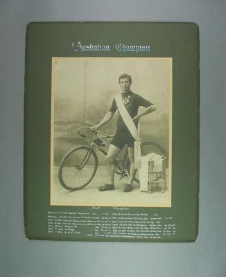 Photograph of Matt Chappell, Australian Cycling Champion 1908