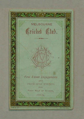 Fixture, Melbourne Cricket Club 1878-79