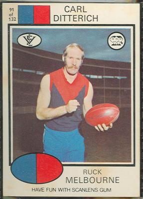 1975 Scanlens VFL Football Carl Ditterich trade card