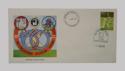 First day cover, West Indies cricket tour of England - Test Series, 2 June 1988