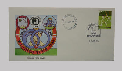 First day cover, West Indies cricket tour of England - Test Series, 30 June 1988