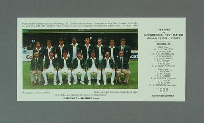 Photograph of Australian cricket team, Bicentennial Test - 29 Jan 1988