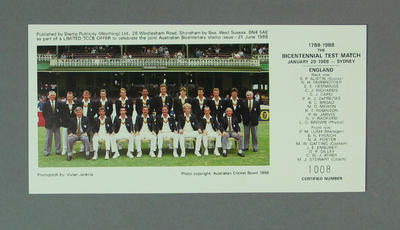 Photograph of English cricket team, Bicentennial Test - 29 Jan 1988; Documents and books; Philatelics and currency; M5506.3