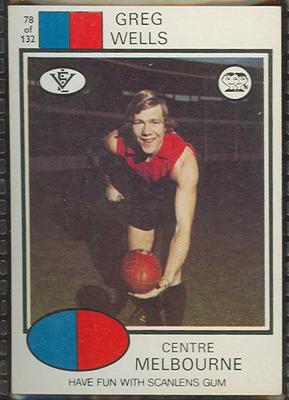 1975 Scanlens VFL Football Greg Wells trade card