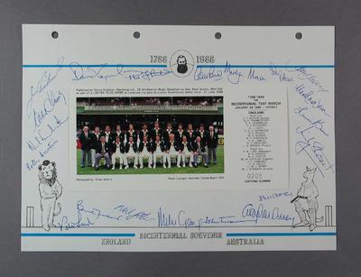 Photograph of English cricket team, Australian Bicentenary stamp issue album