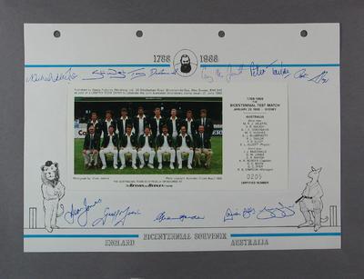 Photograph of Australian cricket team, Australian Bicentenary stamp issue album