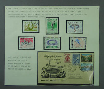 Stamp album page, 1956 Melbourne Olympic Games issues; Philatelics and currency; M5520