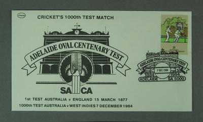 First day cover, Adelaide Oval Centenary Test & 1000th Test match - 7 Dec 1984