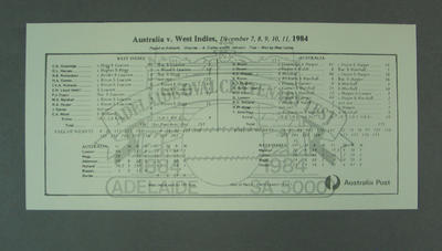Scorecard, Adelaide Oval Centenary Test - 1984