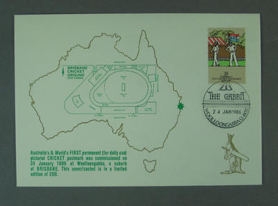 "First day cover, ""The Gabba"" pictorial postmark - 24 Jan 1986"