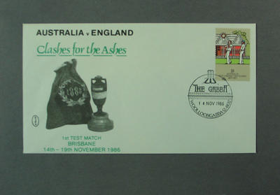 """First day cover, Australia v England """"Clashes for the Ashes"""" - Brisbane, 14 Nov 1986"""