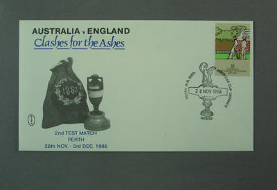 """First day cover, Australia v England """"Clashes for the Ashes"""" - Perth, 28 Nov 1986; Philatelics and currency; M5527.2"""
