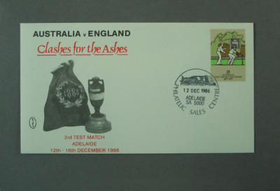 """First day cover, Australia v England """"Clashes for the Ashes"""" - Adelaide, 12 Dec 1986"""
