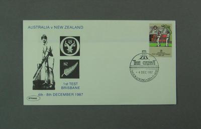 First day cover, Australia v New Zealand - Brisbane, 4 Dec 1987