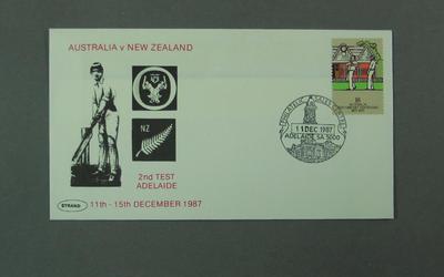 First day cover, Australia v New Zealand - Adelaide, 11 Dec 1987